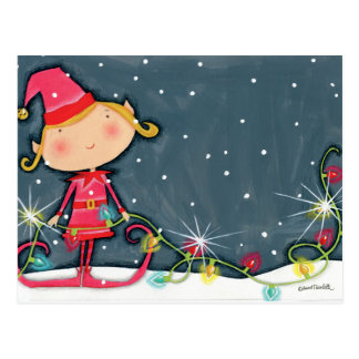 Bright Christmas Elf Postcard