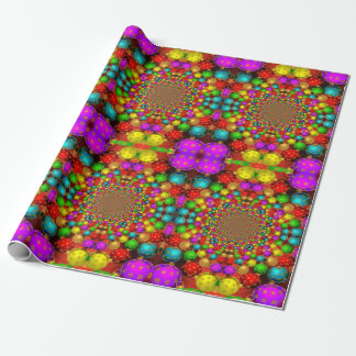 Bright Christmas Ornaments Psychedelic Design Wrapping Paper