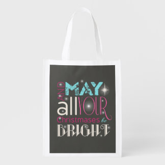 Bright Christmas Typography ID264 Reusable Grocery Bag
