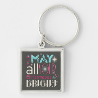 Bright Christmas Typography ID264 Silver-Colored Square Keychain