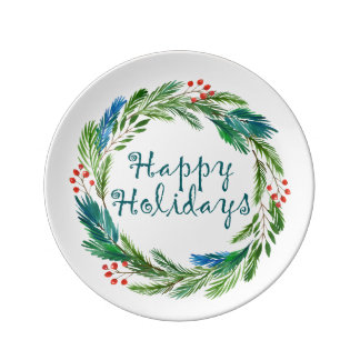 Bright Christmas Watercolor Holly Pine Wreath Plate