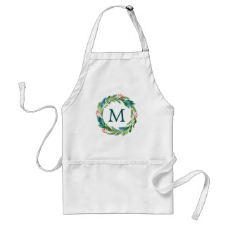 Bright Christmas Watercolor Holly Pine Wreath Standard Apron