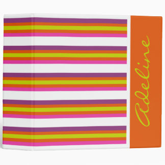 Bright Citrus and White Stripes Personalized 3 Ring Binder