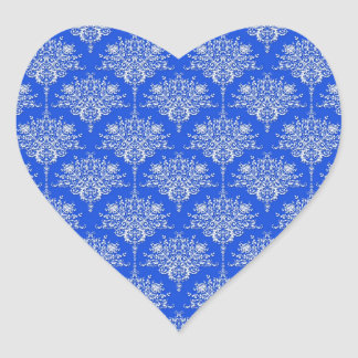 Bright Cobalt Blue and White Floral Damask Heart Sticker