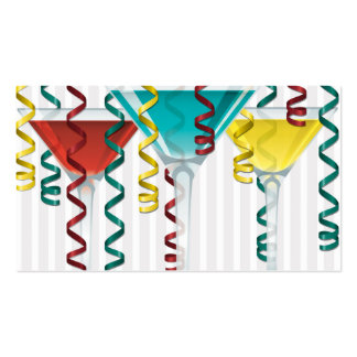Bright cocktail and ribbon business card