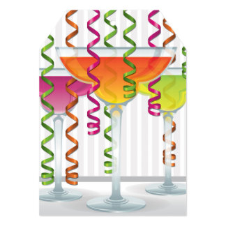 Bright cocktail and ribbon card