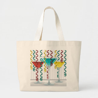 Bright cocktail and ribbon large tote bag