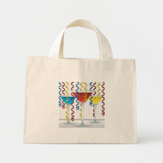 Bright cocktail and ribbon mini tote bag