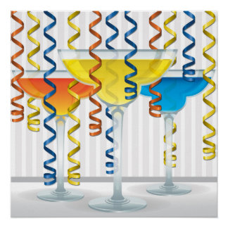Bright cocktail and ribbon poster