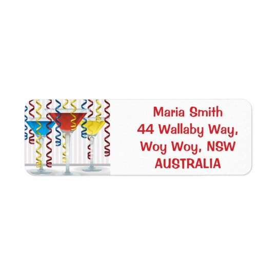 Bright cocktail and ribbon return address label