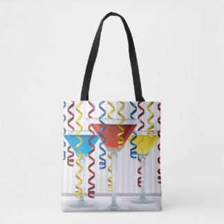 Bright cocktail and ribbon tote bag