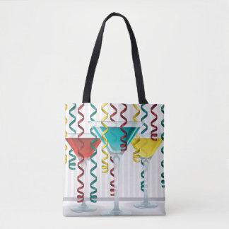 Bright cocktail and ribbon tote bag