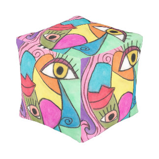 Bright Color Block Big Eyes Bold Lips Cubism Art Pouf