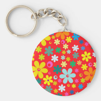 BRIGHT COLOR FLOWERS CUTE  FLOWER PATTERN GIFT, KEYCHAIN