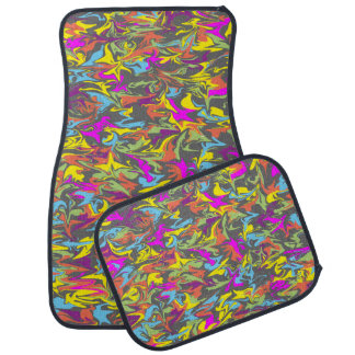 Bright Color Swirls on Dark Gray Car Floor Mats Car Mat