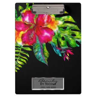 Bright Color Tropical Floral Hibiscus Leaves Clipboard