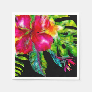 Bright Color Tropical Floral Hibiscus Leaves Disposable Napkin