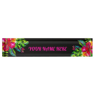 Bright Color  Tropical Floral Hibiscus Leaves Nameplate