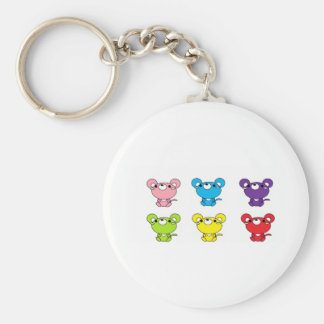 Bright Colored Cartoon Mice in Rows Basic Round Button Keychain