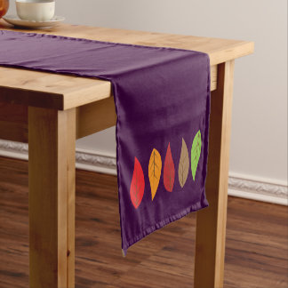 Bright Colored Fall Leaves on Dark Purple Short Table Runner
