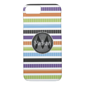 Bright Colored Stripes w/ Chalkboard Frame iPhone 7 Case