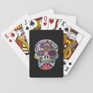 Bright colored sugar skull playing cards