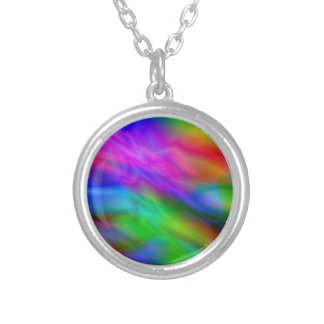 Bright colorful abrstract neon image silver plated necklace