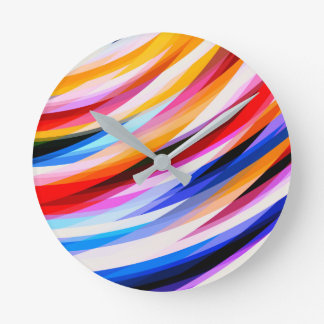 Bright Colorful Abstract Art Round Clock