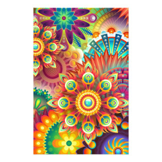 Bright Colorful Abstract Flower Pattern Stationery