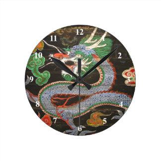 Bright Colorful Asian Dragon Art Round Clock