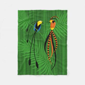 Bright Colorful Birds of Paradise Fleece Blanket