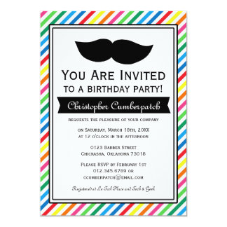 Bright Colorful Boy Moustache Birthday Party Card
