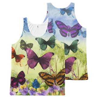 Bright Colorful Butterflies Watercolor All-Over-Print Tank Top