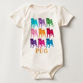 Bright Colorful Camouflage Pugs Baby Bodysuit