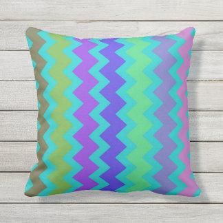 Bright colorful chevron zigzag outdoor pillow