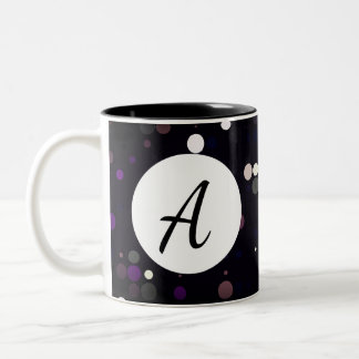 Bright Colorful Circle Pattern With Initial Two-Tone Coffee Mug