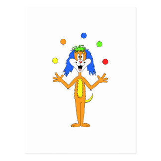 Bright colorful Clown Dog Cartoon Postcard