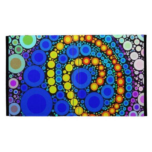 Bright Colorful Concentric Circles Swirl Pop Art iPad Folio Case