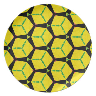 Bright Colorful Construction Paper Geometric Art Dinner Plate