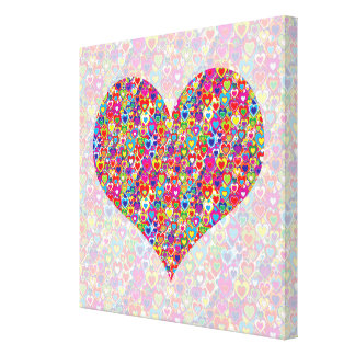 Bright Colorful Cool Heart-Filled Heart Canvas Print