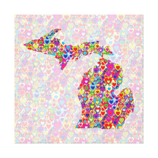 Bright Colorful Cool Heart-Filled Map of Michigan Canvas Print