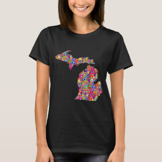 Bright Colorful Cool Heart-Filled Map of Michigan T-Shirt