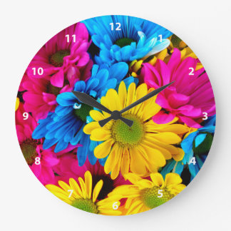 Bright Colorful Daisies Clock