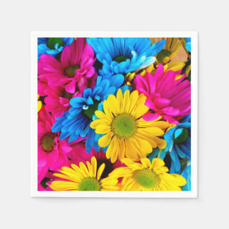 Bright Colorful Daisies Paper Napkin