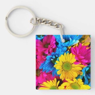 Bright Colorful Daisies Single-Sided Square Acrylic Keychain