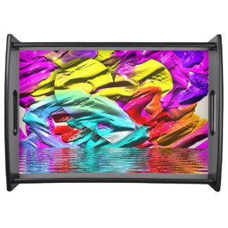 Bright Colorful Dimensional Heart Water Ripples Serving Tray
