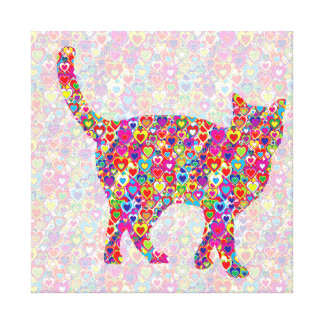 Bright Colorful Dynamic Heart Filled Cat Canvas Print