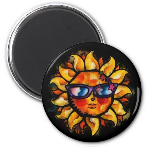 Bright Colorful Expressionist Sun with Sunglasses Magnets
