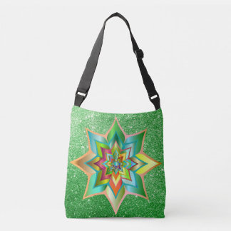 Bright Colorful Floral Green Faux Glitter Crossbody Bag