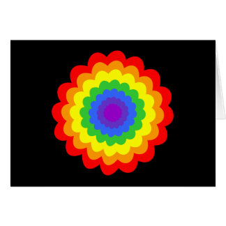Bright colorful flower in rainbow colors. card